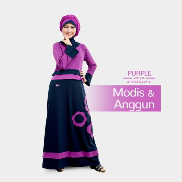 Gamis Mutif 102_Purple - Biru Navy