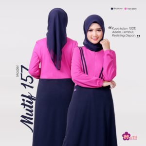 Gamis Mutif 157 Biru Navy - Very Berry